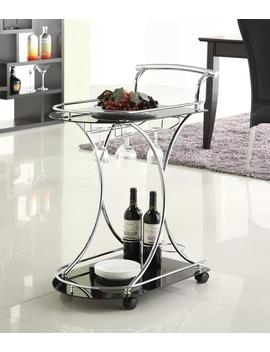 Coaster Furniture Glass Top 3 Bottle Bar And Serving Cart, Silver by Coaster Company