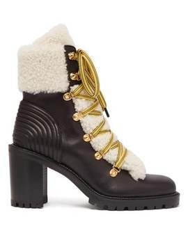 Yetita Shearling Trimmed Leather Ankle Boots by Christian Louboutin