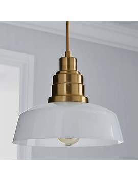 Carmelo White Glass Brass Fitting by Dunelm