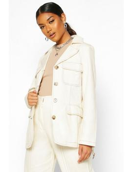 Contrast Stitch Denim Utility Jacket by Boohoo