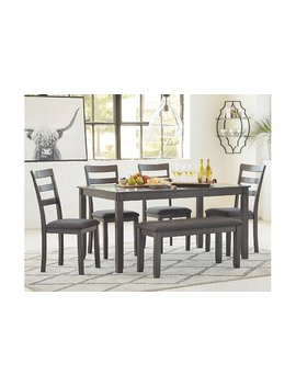Bridson Dining Room Table And Chairs With Bench (Set Of 6) by Ashley Homestore