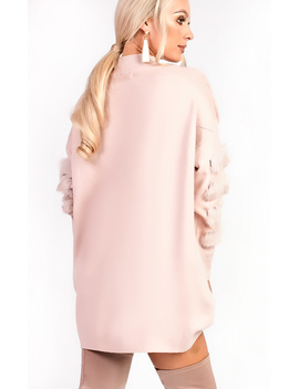 Eva Faux Fur Panel Knitted Dress In Pink by Ikrush