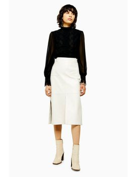 Idol White Leather Pencil Midi Skirt by Topshop