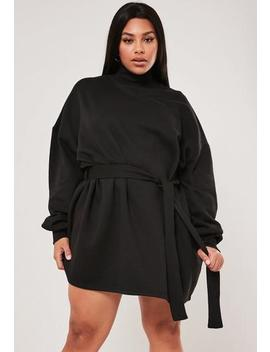 Plus Size Black Tie Waist Sweater Dress by Missguided
