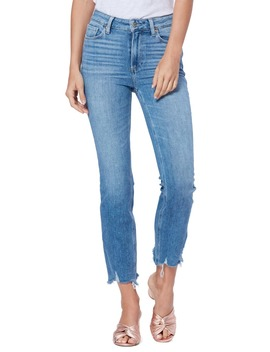 Cindy High Waist Destroyed Hem Straight Leg Jeans by Paige