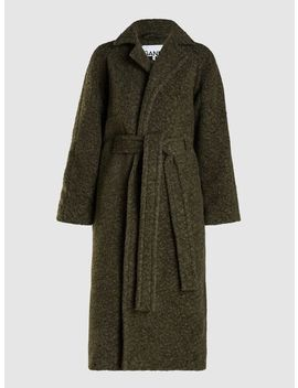 Longline Belted Wool Coat by ‎Ganni‎