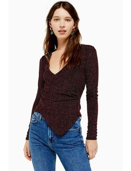 Sparkly Long Sleeve Wrap Top by Topshop