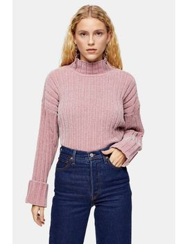 Knitted Chenille Turnback Cuff Cropped Sweater by Topshop