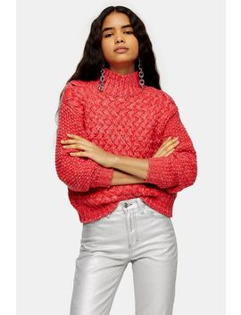 Red Twisted Hand Knit Sweater by Topshop