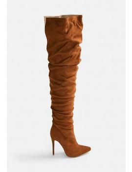 Rust Faux Suede Long Slit Ruched Thigh High Boot by Missguided