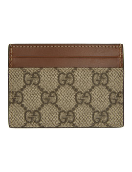 Beige Gg Supreme Card Holder by Gucci