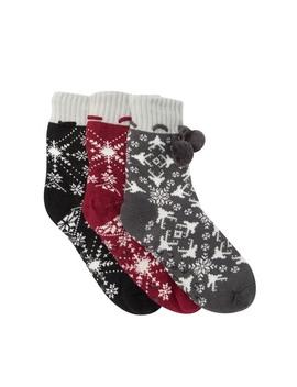 Pompom Trim Slipper Socks   Pack Of 3 by Sock Hub
