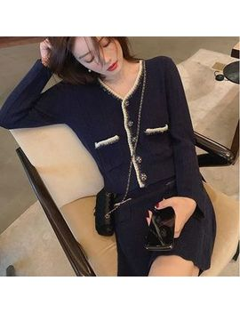 Paila   Set: Tweed Trim Knit Cardigan + Mini Knit Skirt by Paila