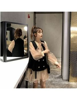 Paila   Set: Dotted Mesh Long Sleeve Babydoll Dress + Vest by Paila