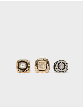 Rings With Shiny Details by Bershka