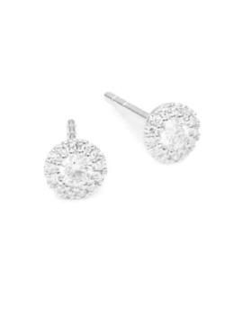 14 K White Gold & Diamond Stud Earrings by Saks Fifth Avenue