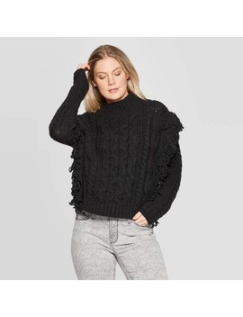 Women's Long Sleeve Mock Turtleneck Cable Fringe Pullover Sweater  Universal Thread™ by Universal Thread