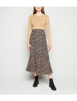 Black Leopard Print Bias Cut Midi Skirt by New Look