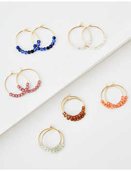 Aeo Beaded Hoop Earrings 6 Pack by American Eagle Outfitters