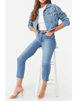 Frayed Ankle Straight Leg Jeans by Forever 21