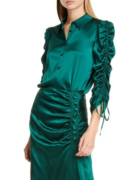 Lillian Ruched Stretch Silk Satin Blouse by Veronica Beard