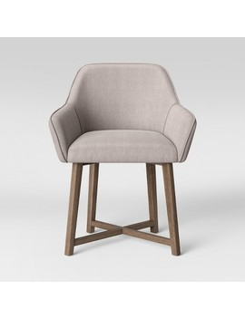 Colrain X Wood Base Dining Arm Chair Beige   Threshold™ by Threshold