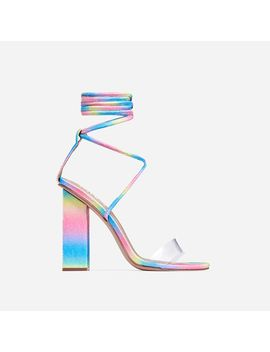 Bello Perspex Lace Up Block Heel In Rainbow Glitter by Ego