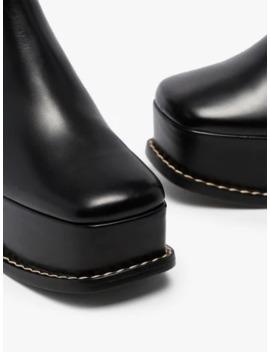 Black 100 Sculpted Heel Leather Platform Boots by Loewe