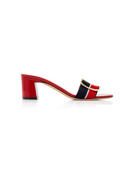 Jordy Striped Grosgrain And Patent Leather Sandals by Bally
