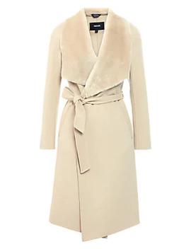 Sybil Shearling Trim Wool Wrap Coat by Mackage