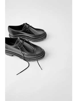 Chaussures Plates En Cuir À Bordure SurpiquÉe by Zara