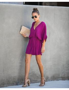 World Class Pleated Romper   Plum   Final Sale by Vici
