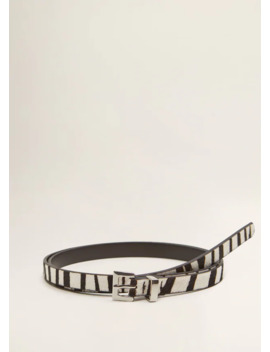 Animal Print Leather Belt by Mango