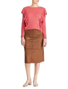 Straight Fit Faux Suede Skirt by Chaps