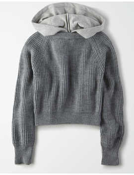 Ae Studio Mixed Hooded Sweater by American Eagle Outfitters