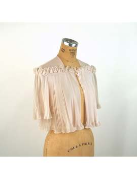 1950s Bed Jacket Pink Pleated Ruffled Sheer Nylon Vanity Fair Size S/M by Etsy
