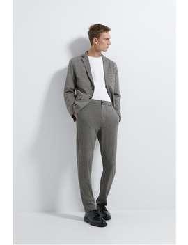 Stretch Knit Plaid Suit Pants by Zara