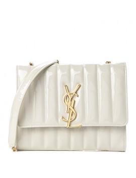 Saint Laurent Patent Matelasse Vicky Chain Wallet Off White by Yves Saint Laurent