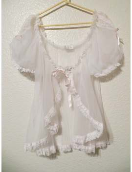 Vintage White Sheer Babydoll Robe With Pink Roses Ribbon Lace Size Large by Etsy
