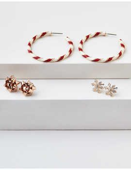 Aeo Candy Cane Hoop Earrings 3 Pack by American Eagle Outfitters