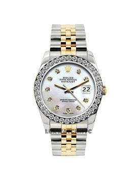 White Mop Dial Box W Ladies Datejust Gold S/S Diamond W/ & Appraisal Watch by Rolex