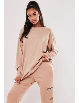Sand Long Sleeve Drop Shoulder T Shirt by Missguided