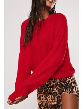 Red Oversized Crew Neck Balloon Sleeve Jumper by Missguided
