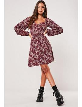Burgundy Floral Milkmaid Button Mini Dress by Missguided