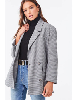Plaid Double Breasted Blazer by Forever 21
