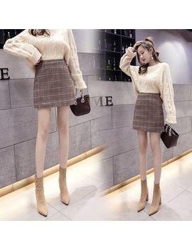 Ogawa   High Waist Plaid Woolen A Line Skirt by Ogawa