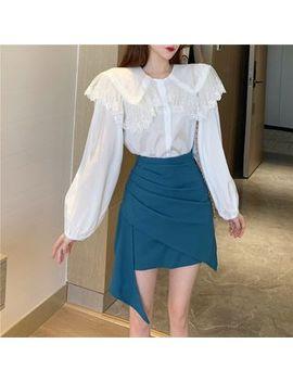 Ogawa   Long Sleeve Peter Pan Collar Plain Blouse / High Waist Asymmetric Layered Skirt by Ogawa