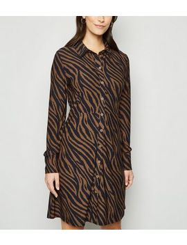 Blue Vanilla Brown Zebra Print Shirt Dress by New Look