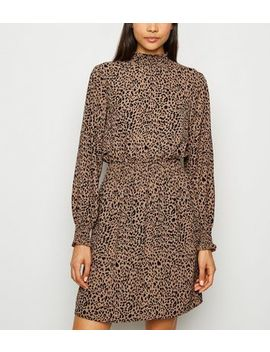 Brown Leopard Print Long Sleeve Dress by New Look