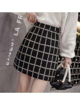 Ogawa   High Waist Plaid Tweed A Line Skirt by Ogawa
